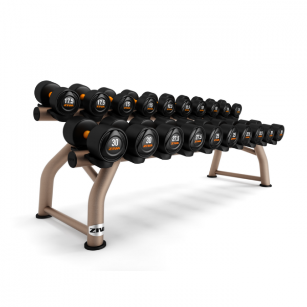 ZIVA SL Rubber Dumbbell Sets and Flat Rack