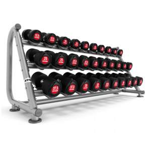 ZIVA SL PolyUrethane Dumbbell Red15 Pair 3 Tier Dumbbell Rack